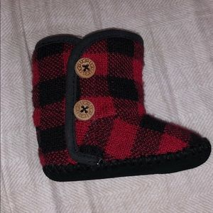 UGG Baby (0-6mo) Purl Pine Boots//Black&Red-UNISEX